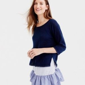 J Crew Linen Shirt with Pom Pom Trim